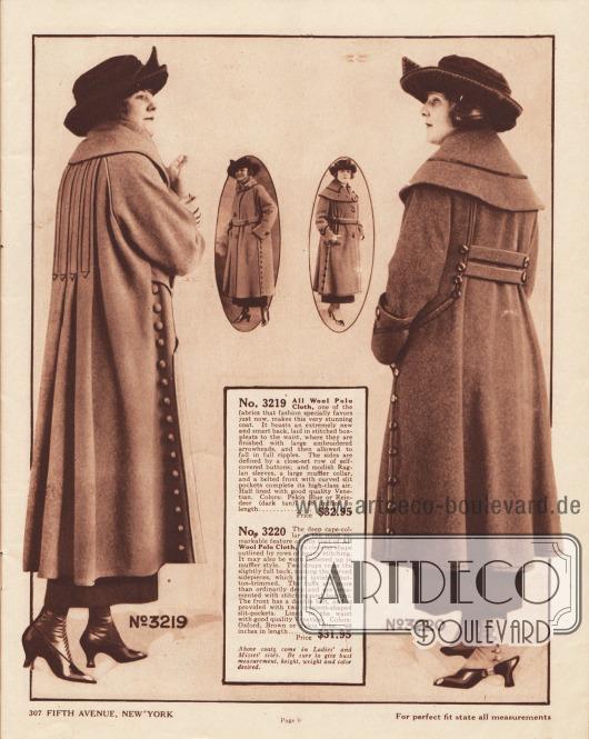 3219: Sportlicher Herbstmantel aus Woll-Polo-Gewebe in der mittleren Preisklasse für Damen. Der Rücken ist mittels dekorativer Stickerei abgenäht, die in Pfeilspitzen endet. Durch die Stickerei sind die breiten, wellenförmigen Falten arrangiert, die die Weite der Rückpartie herstellen. Reihen mit Mantelstoff bezogenen Knöpfen sind in der Front beidseitig zu finden. Raglanärmel und schräg eingelassene Taschen. Gürtel nur auf der Vorderseite. 3220: Schicker, sportlicher Damenmantel aus Woll-Polo-Gewebe zum Preis von 31,95 Dollar. Auffälligstes Merkmal des Mantels ist der sehr breite Capekragen mit einer einzelnen glänzenden Tresse. Im Rücken halten zwei Gürtelblenden die abgerundeten Seitenteile zusammen. Die mehr als normal breiten Ärmelaufschläge sind mit Stickerei und Knöpfen dezent verziert. Vorne große eingelassene Schlitztaschen in Halbmond- bzw. Sichelform.