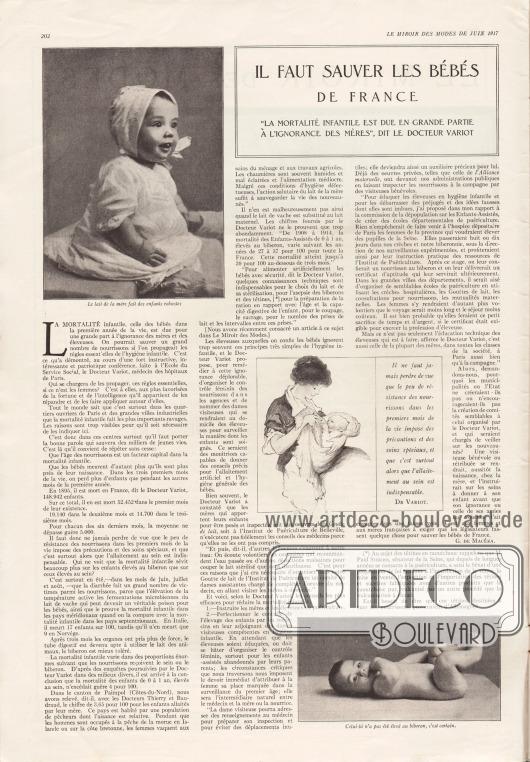 """Artikel:Macéra, Georges de, Il faut sauver les bébés de France! (""""La mortalité infantile est due en grande partie à  l'ignorance des mères"""", dit le docteur Variot).Fotos: unbekannt."""