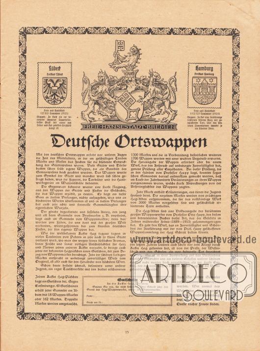 """Werbung:""""Deutsche Ortswappen"""": Jedem Kaffee Hag Päckchen liegt ein Gutschein bei. Gegen Einsendung v. 40 Gutscheinen erhält jeder Sammler ein Album mit 18 Wappen-Marken oder 162 Marken, Kaffee Hag."""