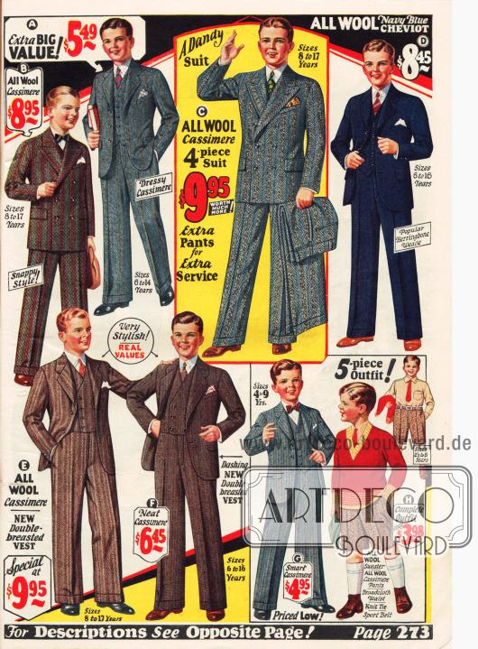 Anzüge für junge Männer.
