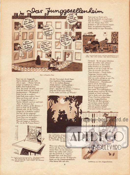 """Fünf unterhaltsame Karikaturen zum Thema """"Das Junggesellenheim"""" mit Reimen. Zeichnungen: Hans Kossatz (1901-1985)."""