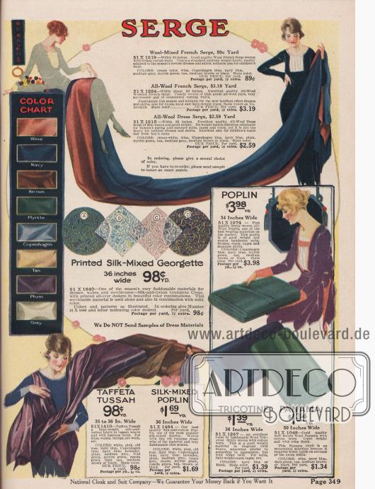 Kleider- und Kostümstoffe wie französischer Woll-Serge, bedruckter Seiden-Popeline-Mischstoff, Taft-Tussah (Seiden-Baumwoll-Mischgewebe), Seiden-Popeline, Popeline, Woll-Tricotine sowie Woll-Panama. Die Nähstoffe sind, sofern in der Beschreibung nicht anders angegeben, in den Farben lieferbar, die in der Farbtabelle links angezeigt werden. Die Breite der angebotenen Stoffe reicht von 35 bis 54 Inch (also 88,9 und 137,16 cm). Die Preise beziehen sich auf ein Yard Länge (91,44 cm) und liegen zwischen 89 Cent und 3,98 Dollar.