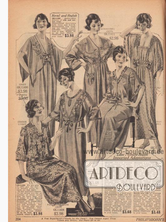 Kimonos als Morgenröcke oder Nachhemden aus Kreppstoffen wie Baumwoll- und Seidenkrepp. Reihenziehungen, Schleifchen, Borten, blütenartige und gepunktete Stoffmuster, aufwendige Stickereien sowie durch den Stoff geführte Taillenbänder erzeugen höchst unterschiedliche Ausführungen. Eine Robe mit aufgenähten Taschen. V-Ausschnitte überwiegen.