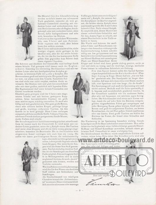Artikel: Henschke, Bruno, Die Mode für Herbst und Winter 1929/30. Ein Modebrief.  Der Artikel wird um fünf kleine Zeichnungen die ein geschneidertes Jackenkleid, ein Kostüm und drei Herbstmäntel für Damen zeigen. Der Damenmantel unten rechts ist ein doppelreihiger Paletot.