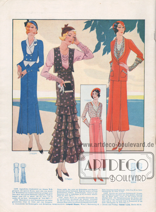 Elegantes Straßenkleid aus blauem Wollgeorgette mit einem Bolero aus gleichem Stoff. Dem Rock sind seitlich Faltenteile eingesetzt. In der Mitte wird ein braunes Bolerokleid aus Crêpe de Chine präsentiert. Das dem Kleid angenähte Oberteil aus rosa Georgette ist mit reichen Hohlnähten und Rüschenverzierungen bereichert. Rechts ein Kostüm aus rostrotem Seidenbouclé dessen Kragen- und Ärmelbesatz aus dem gleichen Material wie die Bluse gefertigt sind.
