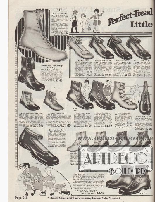 """""""Schuhe mit perfektem Profil für die kleinen Leute"""" (engl. """"Perfect-Tread [Shoes for the] Little [Folks]""""). Schuhe mit sehr weichen Sohlen für die ersten Schritte und Schuhe für Kleinkinder bis etwa 4 Jahre, wie Schnürstiefelchen und hohe Schuhe mit Verschlussknöpfen, """"Mary Jane"""" Pumps mit Knöchelschnalle sowie eine römische Sandale mit mehreren Verschlussriemen. Die Schuhe sind aus Kanevas, Lackleder oder Chevreauleder (Ziegenleder), die Schäfte sind teilweise aus Stoff. Quasten und flache Schleifen als Zierelemente."""
