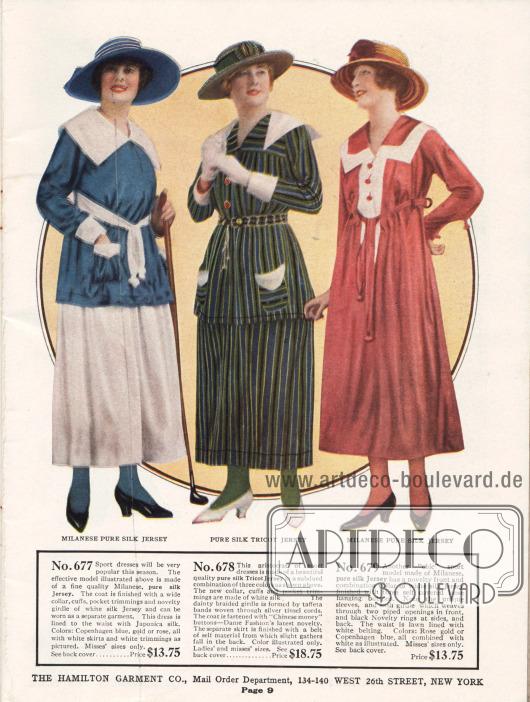 Erstklassige und exklusive Sportkleider für Damen.Das Oberteil des ersten Sportkleides besteht aus kopenhagenblauem Mailänder Seiden-Jersey. Der gleiche Stoff in Weiß dient für den Kragen, den Gürtel, die Ärmelaufschläge und die Taschen. Das Kleid ist bis zu Taille mit Japonica Seide gefüttert. Das mittlere, zweiteilige Kleid besteht aus grün-bau gestreiftem Seiden-Trikot-Jersey. Die Garnitur ist aus weißer Seide, während der Gürtel aus ineinander gewebten Taftbändern und Silberfäden hergestellt ist. Das dritte Kleid besteht, wie das erste, aus rosarotem Seiden-Jersey. Das dünne Gürtelband ist durch schmale Schlaufen geführt. Neu sind die lose befestigten Knöpfe im Brustbereich sowie die interessant geformten Ärmel.