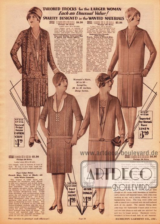 Einfache und günstige Tages- und Haushaltskleider für Frauen mit stärkerer Figur. Die Kleider sind aus tweedartig bedrucktem Rayon Kanton Krepp, bedruckter Baumwolle, Seidengewebe und sanforisiertem (gekrumpfem, vorgeschrumpftem) Leinen. Alle Kleider präsentieren Röcke mit Keller- oder Quetschfalten sowie reiche Biesenverzierungen an den Schultern, in der Front oder auf der Hüftpasse. Die Modelle zeigen Westeneinsätze, die von V-Ausschnitten umrahmt sind.
