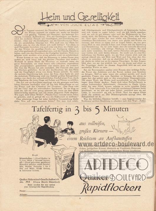 """Artikel:Elias, Julie, Heim und Geselligkeit.Werbung:""""Tafelfertig in 3 bis 5 Minuten"""", Quäker Rapidflocken, Quäker Nährmittel-Gesellschaft m.b.H., Abt. M 2, Elsen (Bezirk Düsseldorf)."""