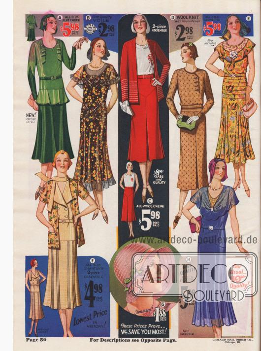 Auch diese Kleider und Ensembles sind, obwohl sie aus teuren Seidenstoffen gefertigt sind, sehr niedrig im Preis.