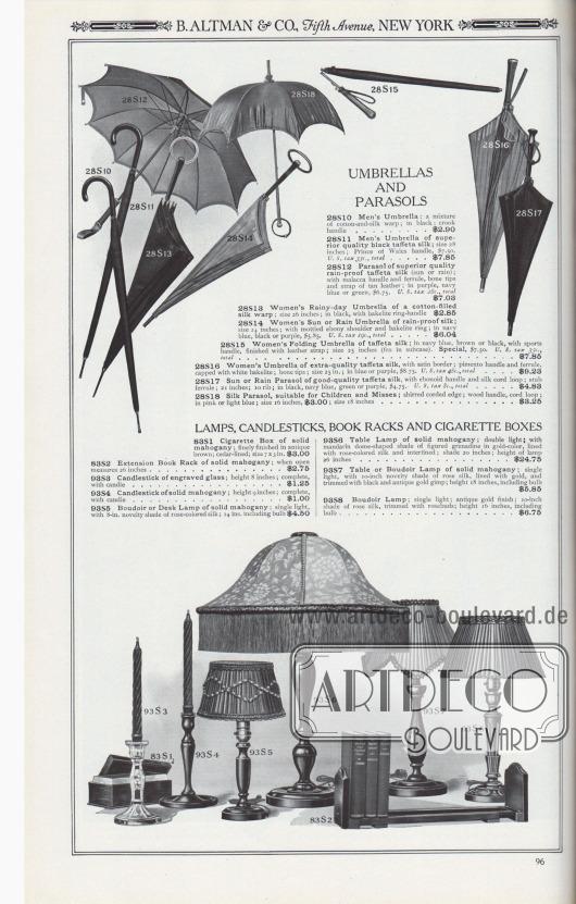 B. ALTMAN & CO., Fifth Avenue, NEW YORK.  REGENSCHIRME UND SONNENSCHIRME. 28S10: Regenschirm für Herren; eine Mischung aus Baumwoll- und Seidengewebe; in schwarzem, mit Krummgriff… 2,90 $. 28S11: Regenschirm für Männer aus hochwertiger schwarzer Taft-Seide; Größe 28 Zoll; Prince of Wales-Griff, 7,50 $. U.S.-Steuer 35c., gesamt… 7,85 $. 28S12: Sonnenschirm aus hochwertiger regenfester Taft-Seide (Sonne oder Regen); mit Malakka-Griff und Klemmhülse, Knochenspitzen und Riemen aus hellbraunem Leder; in Lila, Marineblau oder Grün, 6,75 $. U.S.-Steuer 28c., gesamt… 7,03 $. 28S13: Damen-Regenschirm aus Baumwoll-Seidengarn; Größe 26 Zoll; in Schwarz, mit Bakelit-Ringgriff… 2,85 $. 28S14: Damen-Sonnen- oder Regenschirm aus regenfester Seide; Größe 24 Zoll; mit gesprenkeltem Ebenholzgriff und Bakelit-Ring; in Marineblau, Schwarz oder Lila, 5,85 $. U.S.-Steuer 19c., gesamt… 6,04 $. 28S15: Damen-Faltschirm aus Taft-Seide; in Marineblau, Braun oder Schwarz, mit Sportgriff, ausgestattet mit Lederriemen; Größe 25 Zoll (passt in den Koffer). Sonderpreis: 7,50 $. U.S.-Steuer 35c., gesamt… 7,85 $. 28S16: Damenschirm aus besonders hochwertiger Taft-Seide, mit Satin-Bordüre; Piment-Griff und Klemmhülse, mit weißem Bakelit überzogen; Knochenspitzen; Größe 25 Zoll; in Blau oder Lila, 8,75 $. U.S.-Steuer 48c., gesamt… 9,23 $. 28S17: Sonnen- oder Regenschirm aus guter Taftseide, mit Ebonoid-Griff und Seidenkordel-Schlaufe; Stummelhülse; 21 Zoll; 10 Rippen; in Schwarz, Marineblau, Grün oder Violett, 4,75 $. U.S.-Steuer 8c., gesamt… 4,83 $. 28S18: Seidener Sonnenschirm, geeignet für Kinder und junge Frauen; gekräuselter, gebundener Rand; Holzgriff, Kordel-Schlaufe; in Rosa oder Hellblau; Größe 16 Zoll, 3,00 $; Größe 18 Zoll… 3,25 $.  LAMPEN, KERZENSTÄNDER, BÜCHERABLAGEN UND ZIGARETTENSCHACHTELN. 83S1: Zigarettenschachtel aus massivem Mahagoni; fein verarbeitet in antikem Braun; mit Zedernholz ausgekleidet; Größe 7 x 3 Zoll… 3,00 $. 83S2: Ausziehbare Bücherablage aus massivem Mahagoni; in geö