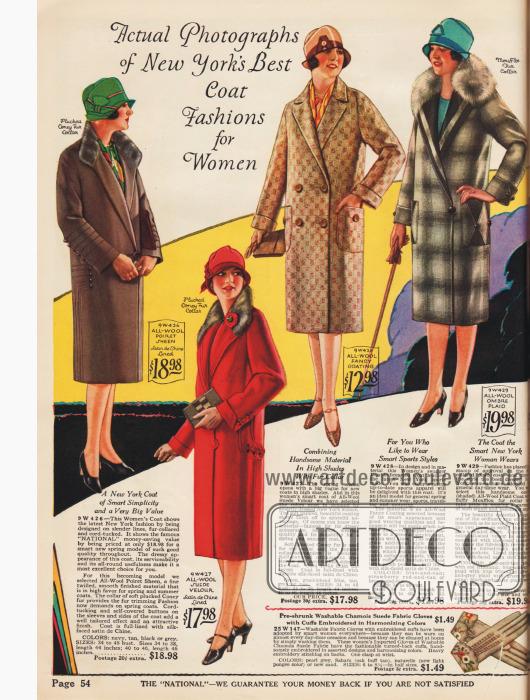 Doppelseite mit kolorierten Photographien mit Damenmänteln in verschiedenen Preisklassen.