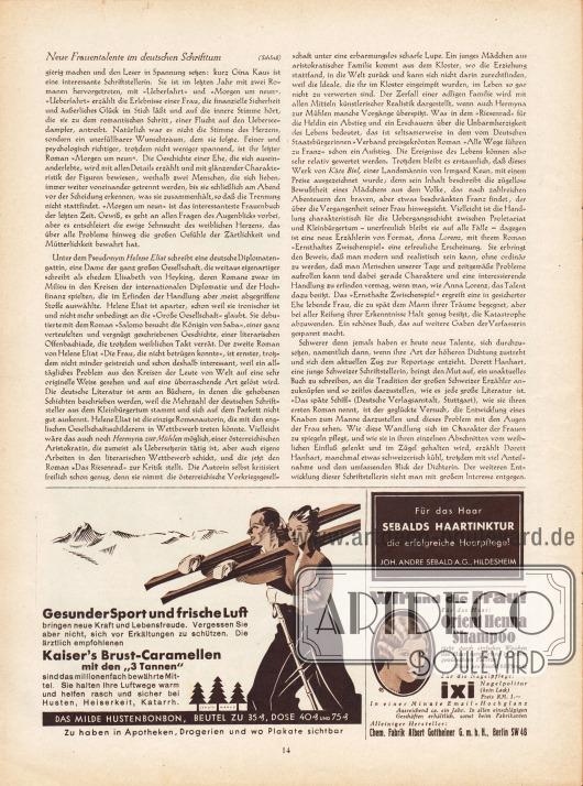 """Artikel:Mielenz, Chr., Neue Frauentalente im deutschen Schrifttum.Werbung:Kaiser's Brust-Caramellen mit den '3 Tannen'&#x3B;Sebalds Haartinktur, Joh. Andre Sebald AG, Hildesheim&#x3B;Orient Henna Schampoo und Ixi Nagelpolitur, Chem. Fabrik Albert Gottheiner GmbH, Berlin SW 48, Illustrator: """"eg""""."""