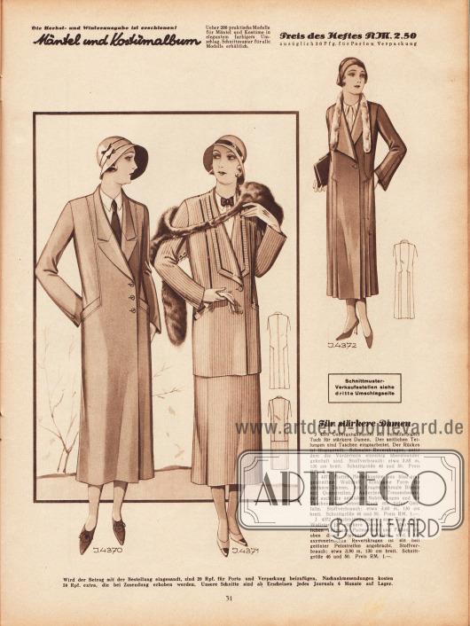 4370: Übergangsmantel aus mittelfarbigem Tuch für stärkere Damen. Den seitlichen Teilungen sind Taschen eingearbeitet.  Der Rücken ist längsgeteilt. Schmaler Reverskragen, unter dem die Vorderteile einreihig übereinander geknöpft sind. 4371: Flottes Herbstkostüm aus blau-grau gestreiftem Wollstoff. Kleidsame Form für stärkere Damen. Am Kragen schmale Blende mit Querstreifen. Außerdem Tressenbesatz, der auch die seitlichen Nahtteilungen und die Taschenpatten betont. Rock mit tiefer Gehfalte. 4372: Nachmittagsmantel aus Tuch oder Wollrips für stärkere Damen. An den seitlichen Teilungen Patteneffekt und Falten, die oben durch Stepperei gehalten sind. Am asymmetrischen Reverskragen ist ein hell getönter Pelzstreifen angebracht.