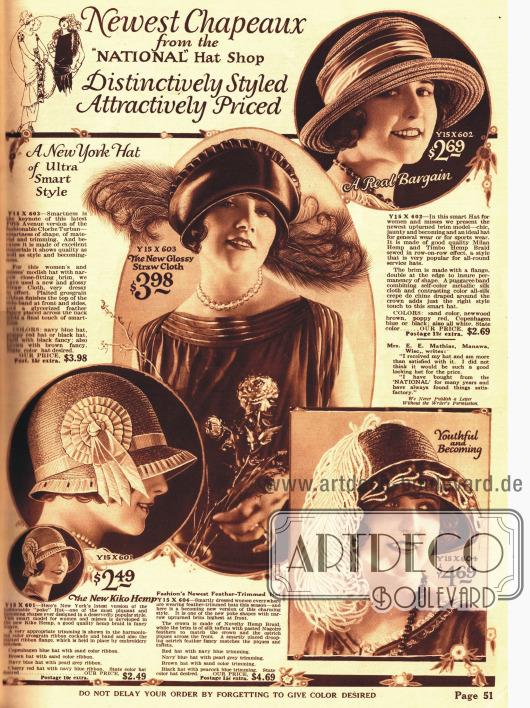 Vier ausgesuchte Hut Modelle als Fotografien. Der Topfhut unten links ist der neuste Schrei der Mode 1924.