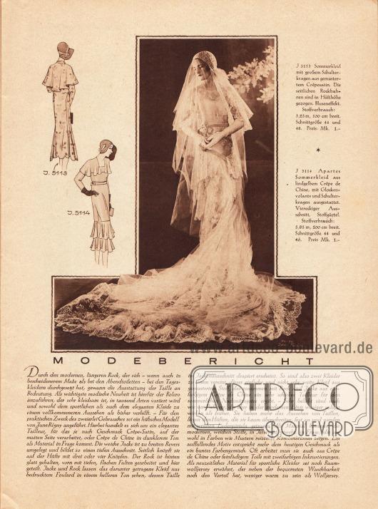 Artikel:O. V., Modebericht.Zudem wird hier eine großformatige Fotografie eines Hochzeitskleides mit überlangem Brautschleier gezeigt. Eine Bilderklärung fehlt allerdings - die nebenstehenden Beschreibungen gehören zu den Modellen 5113 und 5114 auf der Titelseite des Heftes.Foto: Joel Feder.