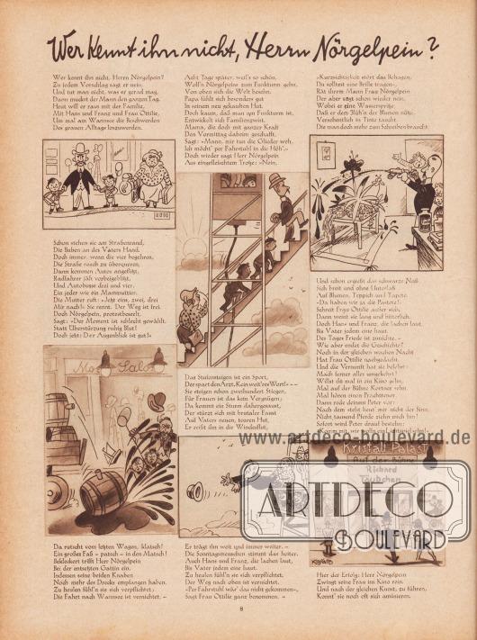 Artikel (Reim): Malkowsky, Emil Ferdinand, Wer kennt ihn nicht, Herrn Nörgelpein? (von Emil Ferdinand Malkowsky, 1880-1965); Zeichnungen/Illustrationen: Hans Ewald Kossatz (1901-1985). [Seite] 8