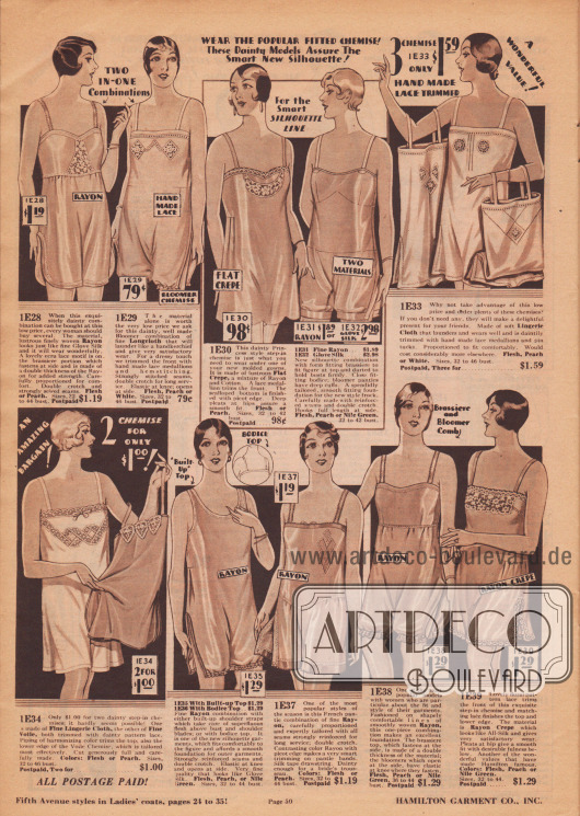"""""""Tragen Sie das beliebte, taillierte Unterhemd! Diese anmutigen Modelle garantieren Ihnen die schicke neue Silhouette"""" (engl. """"Wear the Popular Fitted Chemise! These Dainty Models Assure The Smart New Silhouette""""). Damenunterwäsche. Einteilige Hemd-Höschen-Kombinationen, Kombinationen mit Pumpbeinen sowie Unterhemden aus Rayon, """"Longcloth"""" (Baumwollgewebe), matt glänzendem Krepp, Handschuhseide, Lingerie-Stoff oder Voile (Schleierstoff). Die Wäsche ist mit Spitzen-Medaillons, Spitze, Hohlnähten und feinen Stickereien verziert. Pumphöschen mit elastischen Gummizügen."""