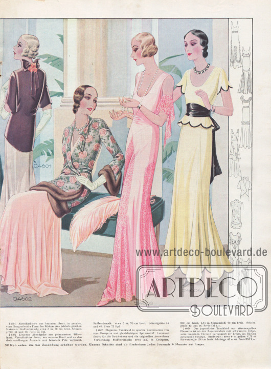 Doppelseite mit eleganten Abendkleidern und Tanzkleidern aus teuersten Stoffen. Ein braunes und ein mit Rosenblüten verziertes und pelzverbrämtes Abendjäckchen in der Bildmitte.