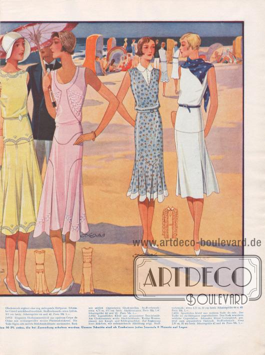 Sommer- und Strandmode für 1930. 4932: Kleid aus gelber Seide für die Strandpromenade. Der Spitzeneinsatz ist bogig eingearbeitet. Den Glockenrock ergänzt eine eng anliegende Hüftpasse. Schmaler Gürtel mit Schnallenschluß. 4933: Elegantes Hochsommerkleid aus opalrosa Crêpe de Chine mit wirkungsvoller weißer Plattstichstickerei. Die Teile fügen sich mittels Stäbchenhohlnaht aneinander. Rock mit seitlich eingesetzten Glockenteilen. 4934: Jugendliches Kleid aus gemusterter Traviséseide. Am Glockenansatz weiße Abschlußblende. Weißer Westeneinsatz mit Knopf- und Schlingenschluß. Zur Ergänzung loses Jäckchen, wie nebenstehende Abbildung zeigt. 4935: Sportliches Kleid aus weißem Toile de soie. Der Taille ist die Hüftpasse angeschnitten. Den Rock erweitern seitliche Gegenfalten. Schmaler blauer Ledergürtel, passend zum gepunkteten Halstuch.