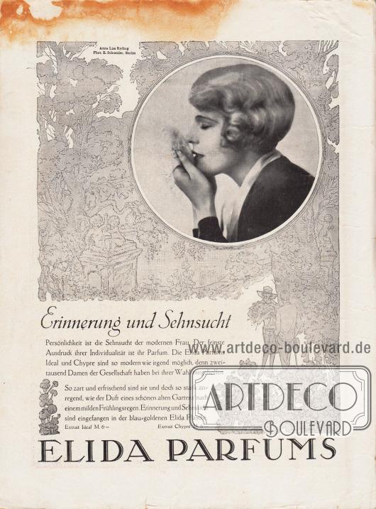Werbung: Elida Parfums. Modell: Anna Lisa Ryding; Foto: Atelier Ernst Schneider, Berlin.