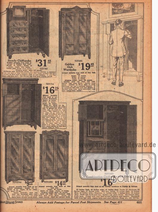 """Kleiderschränke und Chiffaroben, die mit Kommoden-Schubfächern oder auch mit Spiegel oder einem ausklappbaren Schreibpult kombiniert wurden (auch Garderoben- oder Dielenschrank genannt, engl. """"Chifforobe""""). Die Kleiderschränke sind aus hellen oder dunkleren Eichenhölzern oder anderen Harthölzern hergestellt."""