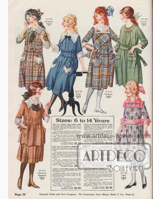 Sechs Mädchenkleider aus Gingham, Rips, Leinen, Chambray-Gingham und Voile.