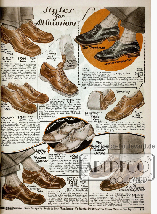 """Doppelseite mit Schuhen für Jungen, die zu """"allen Gelegenheiten passen"""". Die Schuhe sind aus Kalbsleder, Lackleder und reptilienartigem Leder mit Perforationen, Ziernähten und teilweise mit Gummisole von Goodyear oder auch im Zweiton-Stil."""