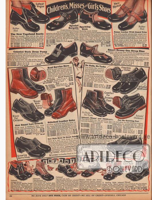 """""""Schuhe für Kleinkinder, junge Frauen und Mädchen"""" (engl. """"Children's, Misses and Girl's Shoes""""). Halbschuhe, kurze Stiefeletten und elegante Sandalen-Schuhe aus Lackleder, Kalbsleder und farblich kontrastierenden, reptilartig genarbten Ledern mit flachen Absätzen für Mädchen und junge Damen. Oben links ein Modell mit dem Namen """"The New Vagabond Bootie"""". Unten werden Schühchen mit weichen Sohlen für Kleinkinder offeriert."""