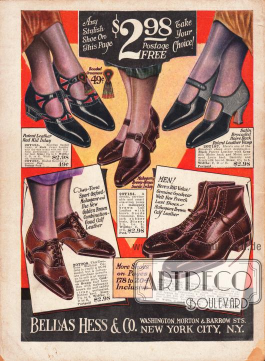 Schnallenschuhe, Oxfords für Damen und Herrenschuhe aus Kalbs- und Lackleder für 2,98 Dollar.