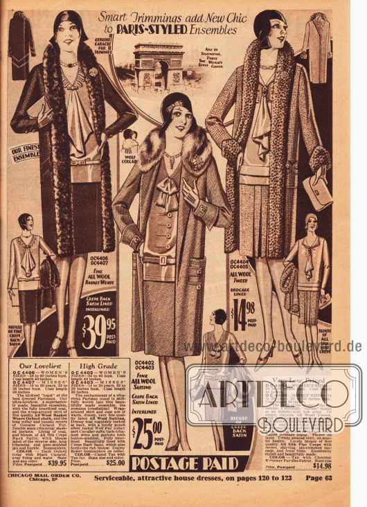 Elegante Ensembles für die modebewusste Dame. Die Mäntel und Röcke sind aus reinen Wollstoffen und Woll-Tweed, während die dazugehörigen Blusen aus Satin Krepp und Seiden Krepp sind. Die Verbrämungen sind vom Karakulschaf, Wolf und aus Pelzimitat. Alle Blusen zeigen jabotartige Krawatten oder Schleifen.