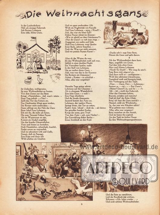 Artikel (Reim): O. V., Die Weihnachtsgans. Zeichnungen/Illustrationen: Hans Kossatz (1901-1985).