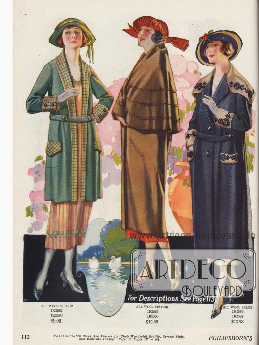 Wadenlange Damenmäntel zu moderaten Preisen aus Woll-Velours mit dezenten Stickereien und farblich kontrastierenden Stoffverwendungen. Das Modell in der Mitte zeigt ein fast hüftlanges Cape. Die Mäntel sind etwas kürzer als die Kleider oder dreiviertellang.