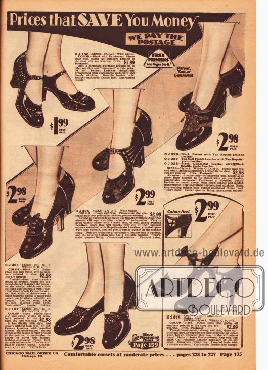 Pumps, Oxfords und Schnallenschuhe für Damen in unaufdringlichen Dessins aus Lackledern, die teilweise mit andersfarbigen oder genarbten Ledersorten kombiniert wurden. Dezente Ausstanzungen, Perforationen und Ornamente sorgen bei jedem Modell für die besondere Note.