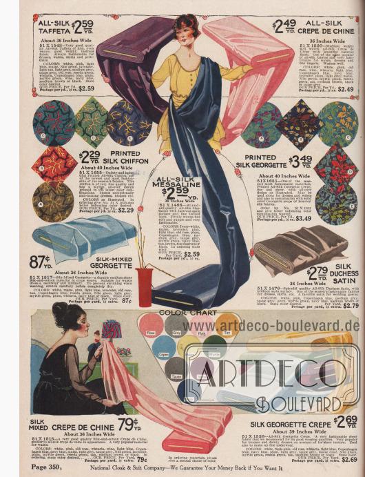 """Kostbare bunt gemusterte und bedruckte sowie unifarbene Seidenstoffe zum Schneidern von feinsten Kleidern. Unter den Kleiderstoffen befinden sich Seiden-Taft, Seiden-Crêpe de Chine, bedruckter Seiden-Chiffon und Seiden-Georgette, Seiden-Messaline, Seiden-Georgette-Baumwoll-Mischgewebe, Seiden-""""Duchess""""-Satin und Seiden-Georgette Krepp. Die Breite der angebotenen Stoffe liegt zwischen 36 und 40 Inch (also 91,44 und 101,6 cm), während die Preise pro Yard (91,44 cm) Länge gerechnet werden."""