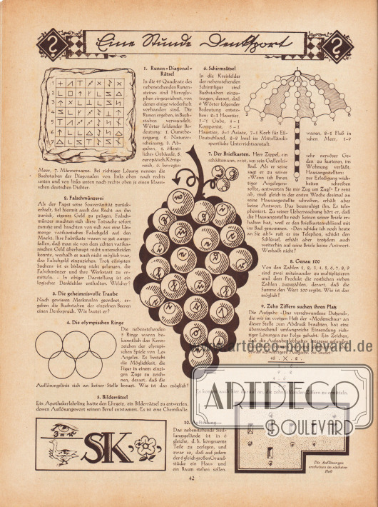 """""""Eine Stunde Denksport"""". Rätselseite mit folgenden Rätseln: 1. Runen-Diagonal-Rätsel, 2. Falschmünzerei, 3. Die geheimnisvolle Traube, 4. Die olympischen Ringe, 5. Bilderrätsel, 6. Schirmrätsel, 7. Der Briefkasten, 8. Genau 100, 9. Zehn Ziffern suchen ihren Platz; 10. Aufteilung."""