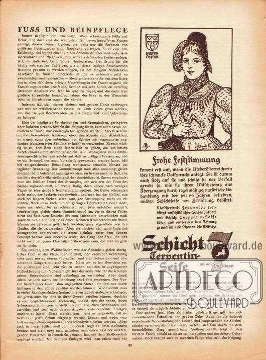 Artikel:O. V., Fuss- und Beinpflege.Werbung:Schicht Terpentin-Seife (schonendes Waschmittel).Illustration: unbekannte Sigantur.