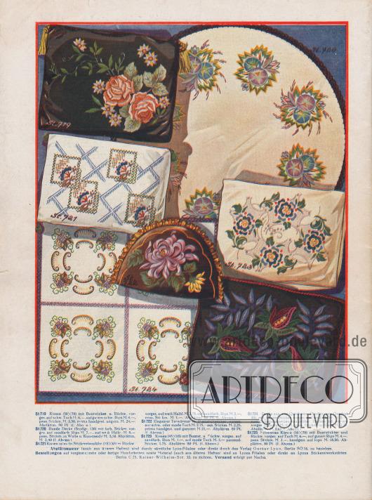 Vorschläge für Handarbeiten und Stickereien wie Decken, Teewärmer und Kissen.Die dazu gehörigen Abplättmuster konnten in den reichsweiten Lyon-Filialen oder postalisch direkt beim Verlag Gustav Lyon bezogen werden.