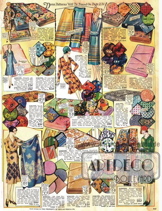 Cretonne-, Charmeuse-, Voile-, Pongee- und andere Stoffe in ausgefallenen Bedruckungen für Kleider und auch Mäntel.