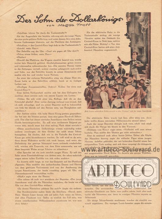 """Artikel:Trott, Magda, Der Sohn des Dollarkönigs.Die Zeichnung oben rechts besitzt die Bildunterschrift """"'Ich lasse schießen Silbermark in die Menge' rief der junge Amerikaner"""".Zeichnung/Illustration: Hans Kossatz (1901-1985)."""