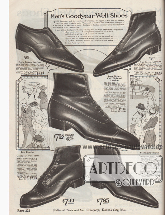 """""""Rahmengenähte Herrenschuhe"""" (engl. """"Men's Goodyear Welt Shoes""""). Schnür-Stiefeletten bzw. hochgeschnittene Straßen- und Anzugschuhe mit Schaft sowie ein Halbschuh aus braunem oder mahagonibraunem Kalbsleder oder silbermetallisch gefärbtem Leder für Männer. Die Modelle besitzen spitze Schuhkappen ohne Vorderkappenmuster. Fast alle Herrenschuhe mit geschlossener Oxfordschnürung, ein Modell mit Derbybogen und offener Schnürung. Fünf Modelle mit Lyralochung an der Querkappe, ein Schuhpaar ohne Muster."""