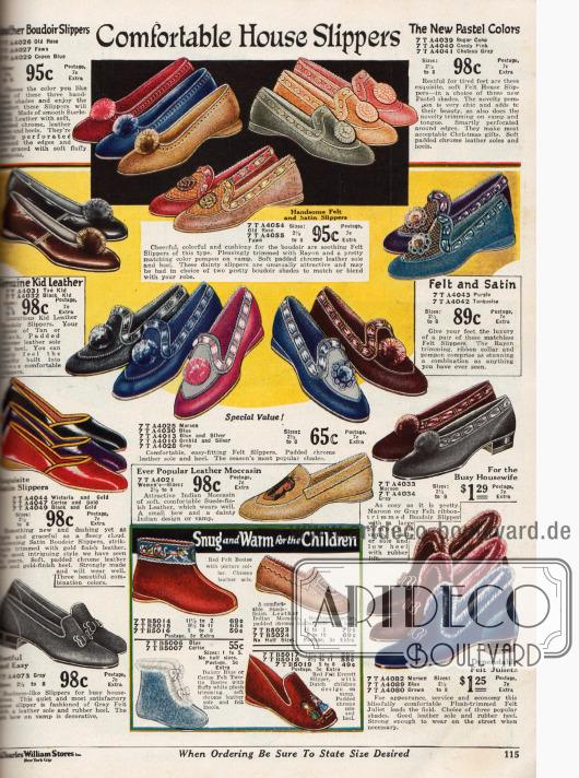 """Gemütliche Hausschuhe: """"Boudoir Slippers"""" aus Leder mit Pompons für Damen und Pantoffeln aus Filz. Auch Mokassins (Mitte) und Puschen für Kinder werden angeboten."""