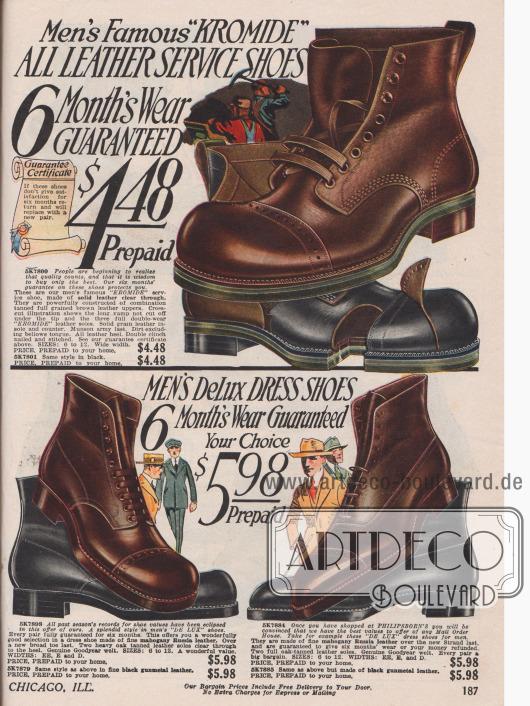 Seite mit schweren nahtverstärkten Arbeitsschuhen und Anzugschuhen für Männer für den alltäglichen Gebrauch aus Leder. Alle Modelle zeigen Perforationen, die Straßenschuhe haben zudem eine Sohle aus Goodyear Gummi.