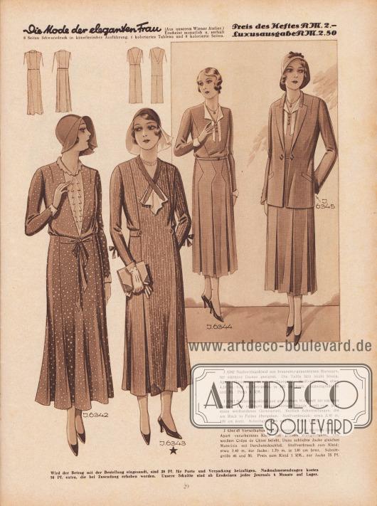 J 6342: Nachmittagskleid aus braunem, gepunktetem Marocain, für stärkere Damen geeignet. Die Taille fällt leicht blasig. Aparte Garnierung aus rosa Georgette. Stoffverbrauch: etwa 4,10 m, 0,55 m Georgette, je 100 cm breit. Schnittgrüße 46 und 50. Preis 1 RM. J 6343: Nachmittagskleid aus gestreiftem Wollstoff für stärkere Damen. Die in Bogen ausgeschnittene Blende greift vorn über einen weißseidenen Garniturteil. Seitlich Schnitteilungen, die am Rock in Falten übergehen. Stoffverbrauch: etwa 3,90 m, 130 cm breit. Schnittgrüße 46 und 50. Preis 1 RM. J 6344/45: Vorteilhaftes Frühjahrsensemble für stärkere Damen. Apart verarbeitetes Kleid aus grünem Wollgeorgette, von weißem Crêpe de Chine belebt. Dazu schlichte Jacke gleichen Materials mit Durchsteckschluß. Stoffverbrauch zum Kleid: etwa 3,40 m, zur Jacke: 1,70 m, je 130 cm breit. Schnittgröße 46 und 50. Preis zum Kleid 1 RM., zur Jacke 75 Pf. [Seite] 29