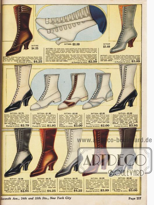 Schnürstiefel aus Lack- und Ziegenleder; teilweise auch in kontrastierenden Farben bestellbar.