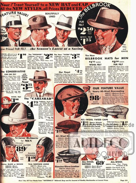 Elegante Hüte aus Baumwolle und Schiebermützen für den Mann. Rodeohut und Fliegerkappen unten links.