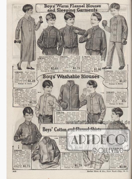 """""""Warme Flanellblusen und Schlafbekleidung für Jungen"""" (engl. """"Boys' Warm Flannel Blouses and Sleeping Garments""""). Dicke, militärische Flanellhemden und Arbeitshemden aus schwerem Woll-Baumwoll-Mischgewebe und Baumwoll-Flanell, ein langes Nachthemd aus warmem Flanell-Vlies sowie ein zweiteiliger Pyjama aus gestreiftem Flanell mit Posamentenverschlüssen für 4 bis 16-jährige Jungen.  """"Waschbare Hemden für Jungen"""" (engl. """"Boys' Washable Blouses""""). Blusen bzw. Hemden aus gestreiften Perkal-Stoffen oder Chambray, die wie Arbeitshemden für Männer gearbeitet sind, für 5 bis 16-jährige Jungen.  """"Baumwoll- und Flanellhemden für Jungen"""" (engl. """"Boys' Cotton and Flannel Shirts""""). Hemden für Schule und Arbeit aus warmem, widerstandsfähigem Flanell, Chambray, gestreiftem Perkal oder Woll-Baumwoll-Flanell für 12 bis 14-jährige Jungen."""