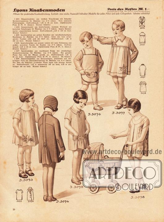 3073: Hängerkleidchen aus weißem Waschkrepp mit hübscher Stickereiverzierung für Mädchen von 2 bis 4 Jahren. 3074: Sommermantel aus holzfarbenem, leichtem Wollstoff mit kariertem Schalkragen für Mädchen von 6 bis 8 Jahren. 3075: Spielkleidchen aus gelbem Kaschmir mit verschiedenfarbigem Bandbesatz für Mädchen von 4 bis 6 Jahren. 3076: Spielschürzchen aus grauem Leinen mit roter Einfassung und großer, gestickter Tasche für Knaben von 2 bis 4 Jahren. 3077: Spielkleidchen aus mattblauem Krepp mit zweifarbiger Stickereiverzierung für Mädchen von 4 bis 6 Jahren. 3078: Sommerkleidchen aus hellgrundigem, geblümtem und einfarbigem Voile mit Zierstichverzierung für Mädchen von 4 bis 6 Jahren.