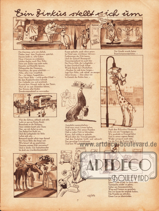 """Zeichnungen und kurze Reime mit dem Titel """"Ein Zirkus stellt sich um"""". Illustrationen: Hans Kossatz (1901-1985)."""