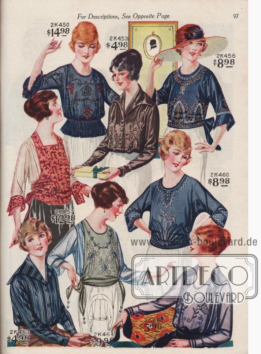 Blusen aus Seiden-Georgette, Seiden Crêpe de Chine und Chiffon-Taft.